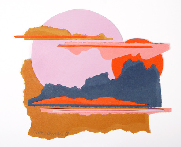 Colette Vermeulen Lilac Moon 2019 Paper collage 14 by 18 cm