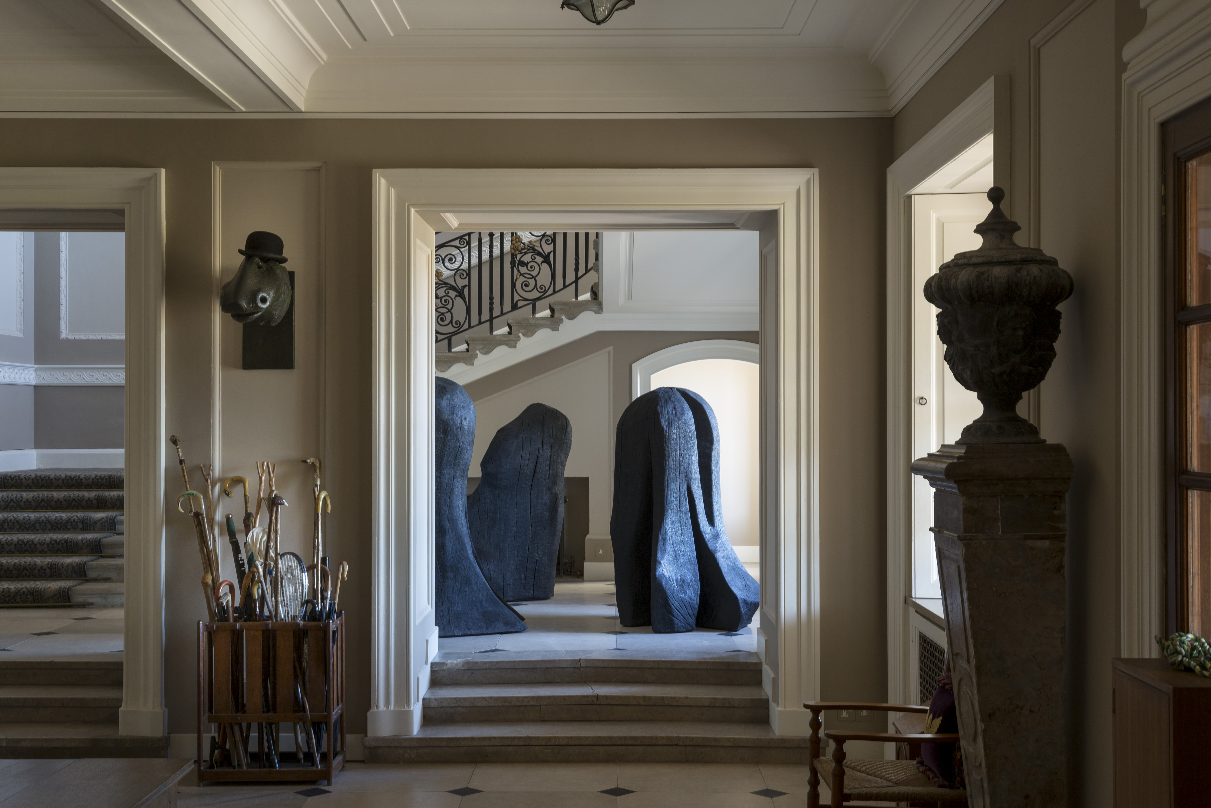 Marchmont House hallway, including David Nash - Three Knobbers