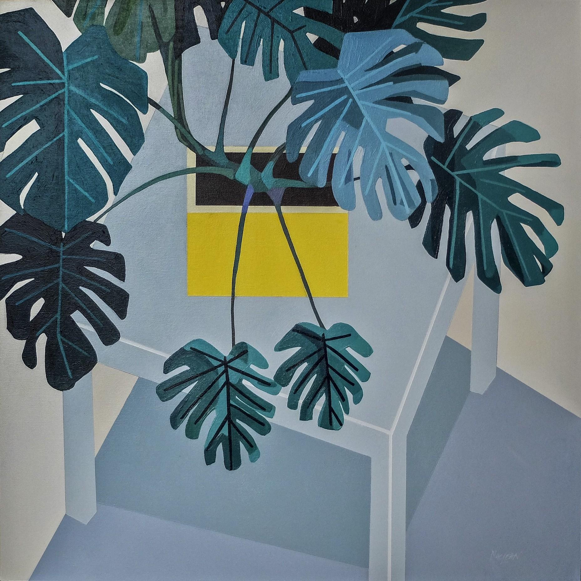 Donald MacLean, Monstera-Deliciosa, Isometric, 2019, £950, acrylic, original, Alpha Art Gallery