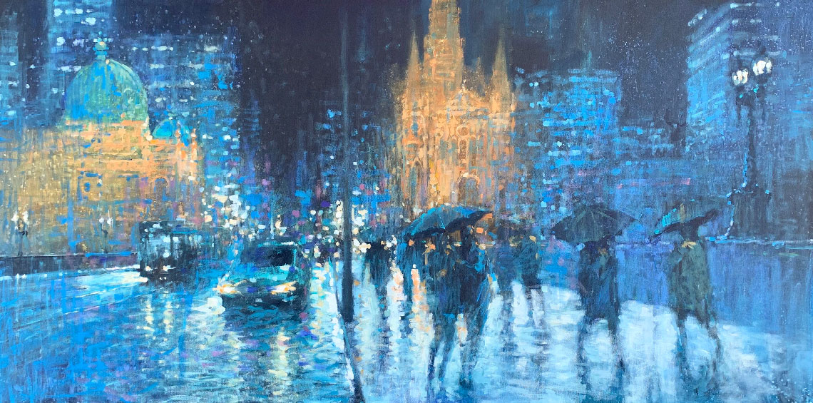 David Hinchliffe, Rainy Night in Melbourne, 2019, oil and acrylic on canvas, 91 x 182 cm, Manyung Gallery.