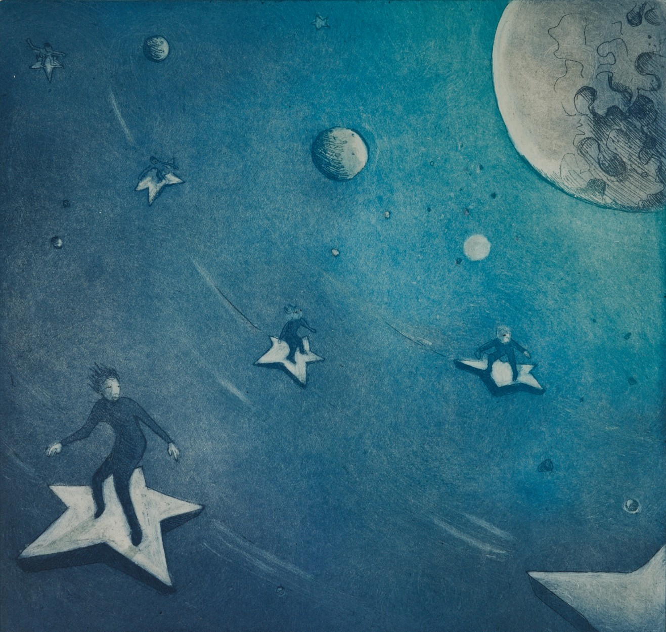 Rebecca Denton, Starsurfers, 2017, £140, etching, edition of 40, Southbank Printmakers