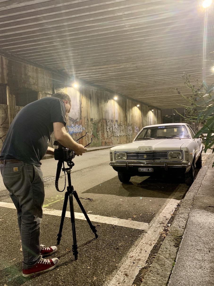 Richard Heeps on shoot in Milan