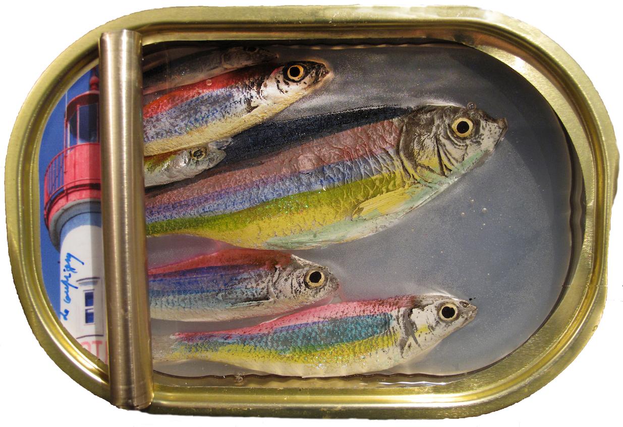 Ronen Art Gallery - Ortaire de Coupigny - Sardines III. - 2019 - Hand made mix media Original Sardines Tin - 10x16 cm - ORIGINAL - HK$ 1.600,-