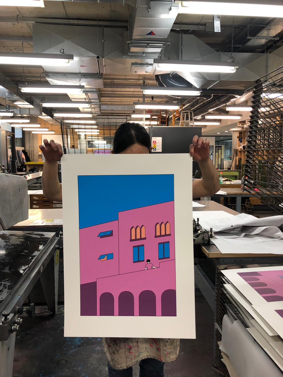 Dana Hong with a finished screen print