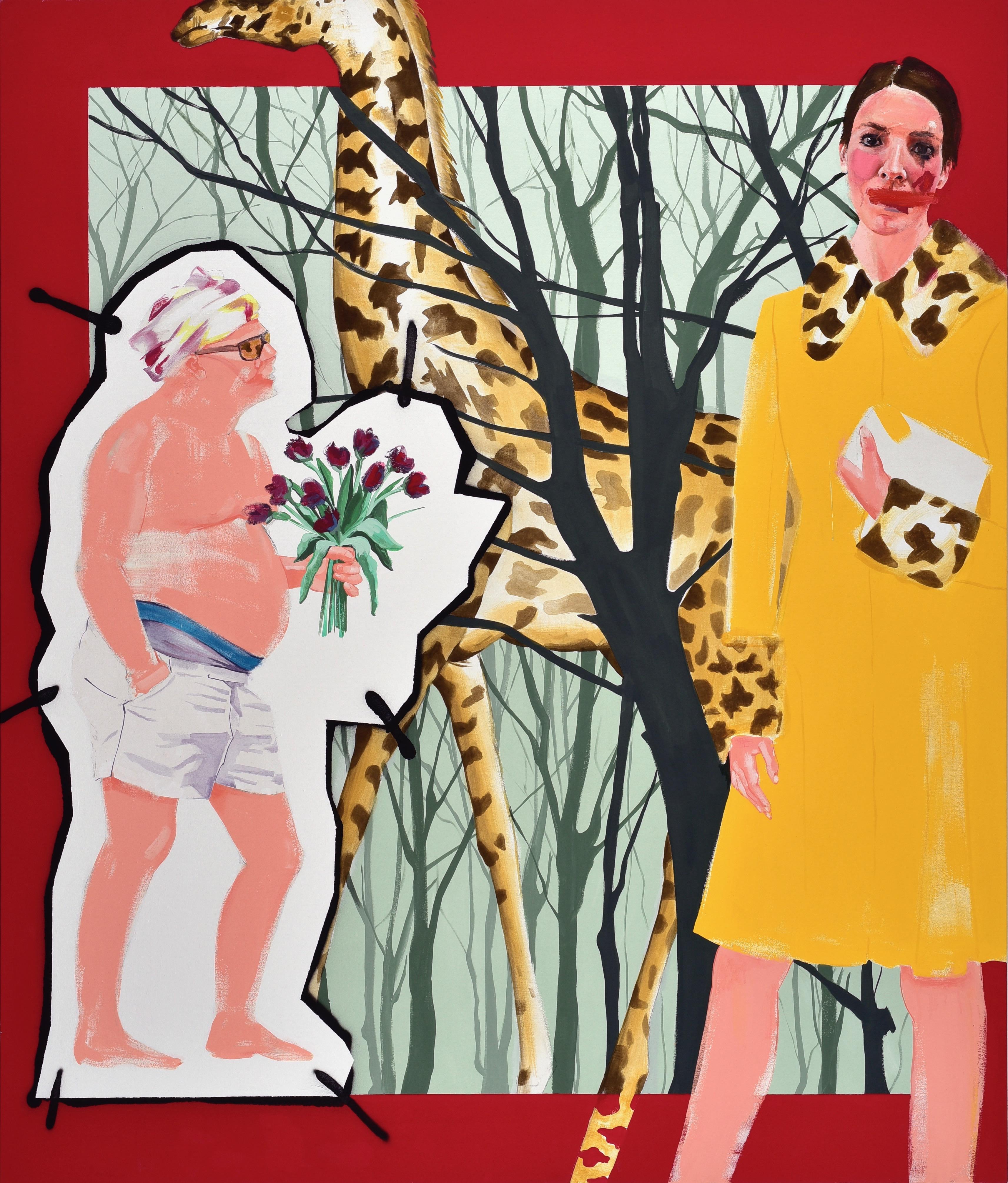 Stella Kapezanou, The Girl in the Miu Miu, oil and acrylic on canvas, original, 210 x 170cm, £3,900, Made in Arts London.