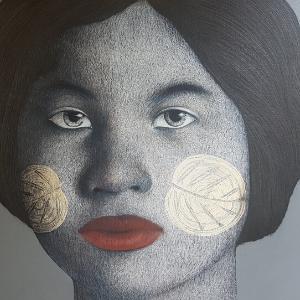Arts de Siam_Pranai Kasemtavornsilpa_Natural Symbol_2019_Acrylic and wax pencil_90x110cm_SGD 6,500