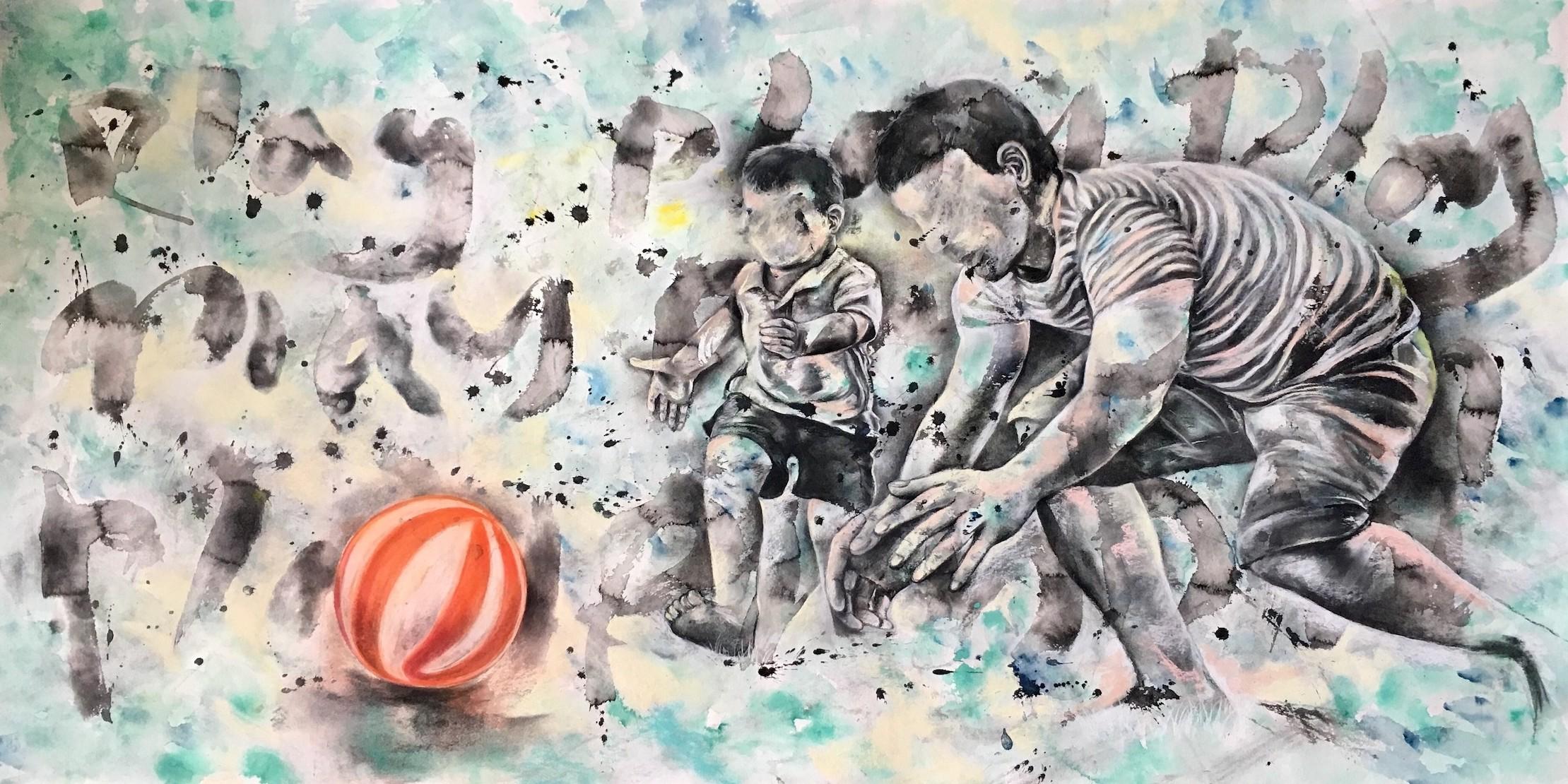 lai-ue Zoe Liu, Play Play Play (Let 'Em Play Series), 2018, £2880, mixed media, original, Blink Gallery