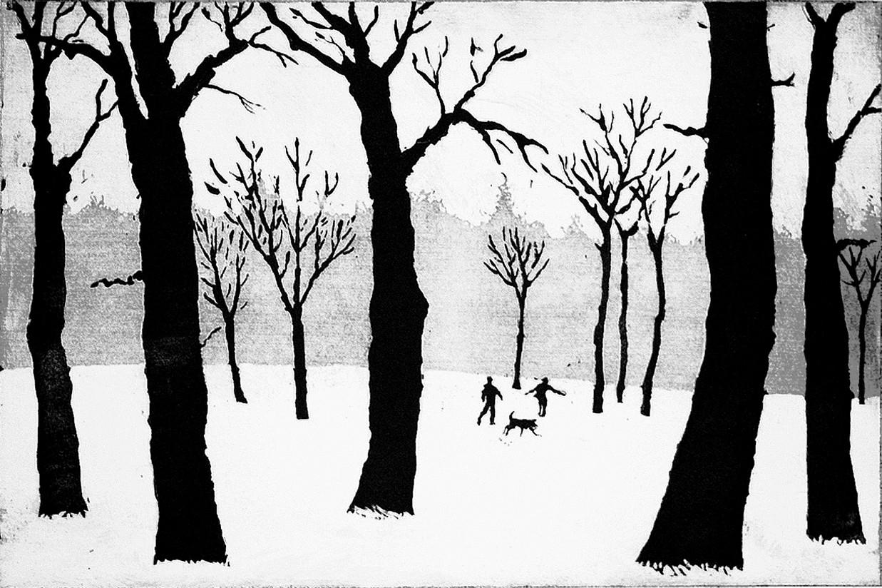 A Walk in the Snow by Tim Southall, Wychwood Art